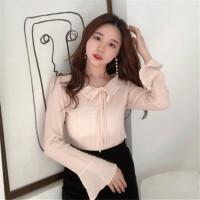 雪纺上衣超仙甜美春装2018新款韩版短款喇叭袖女士洋气小衫时尚