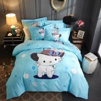 全棉加厚磨毛四件套棉床品套件儿童卡通床上用品被套床单 2.0(6.6英尺) 床