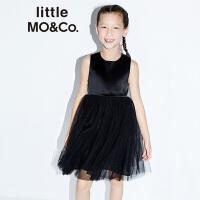 【到手价619】littlemoco夏季新品女童连衣裙洋气公主裙桑蚕丝缎面拼纱礼服裙