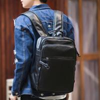 韩版时尚潮流男士电脑背包户外简约真皮双肩包男商务休闲旅行包包