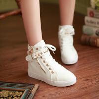 儿童高帮帆布鞋女童布鞋韩版女大童板鞋潮中学生球鞋秋季新款