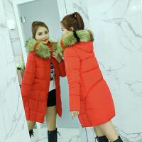 棉袄女士韩版冬季棉衣中长款宽松bf大码加厚外套 桔