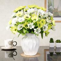 欧式假花仿真花装饰玫瑰花套装摆件客厅餐桌绢花陶瓷花瓶 乳白色 3绿大樱花+白水纹