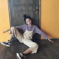 春季新款韩版学院风polo长袖针织衫上衣+减龄背带连体裤套装女