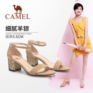 Camel/骆驼女鞋 2018夏季新款时尚粗跟凉鞋 一字扣带中跟露趾韩版百搭潮