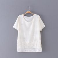 506 夏季新款镂空蕾丝拼接圆领短袖上衣女式雪纺衫