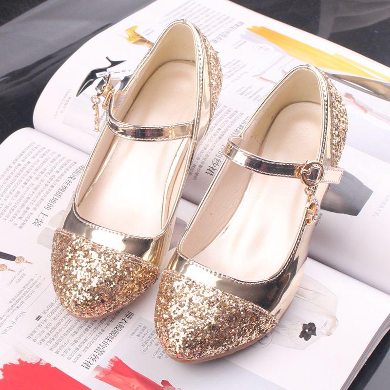 女童皮鞋高跟公主鞋春秋韩版女童鞋小女孩水晶儿童单鞋女