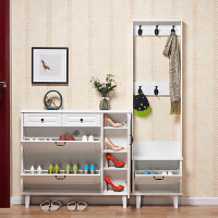 超薄鞋柜北欧式白色17cm 家用翻斗进门口美式鞋架简约玄关带衣架