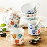 日本进口卡通牛奶杯麦片杯 儿童早餐杯马克杯喝水杯陶瓷可爱杯子