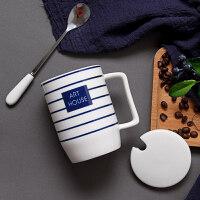 北欧风情侣款杯子一对ins马克杯创意咖啡杯带盖勺陶瓷办公室水杯