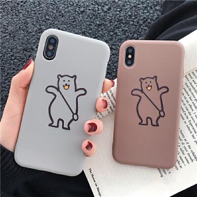 卡通熊简约XS Max苹果x手机壳XR/iPhoneX/7p/6/8plus女款iphone6s硅胶 6/6S 4.7 灰色站立背包熊 1