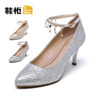 达芙妮集团 鞋柜秋尖头浅口高跟时装一字扣女鞋