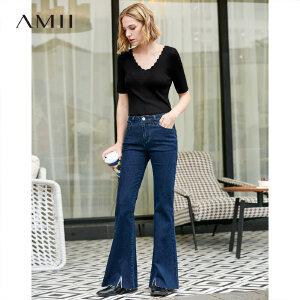 【到手价:129.9元】Amii极简网红潮法式牛仔长裤女2019春季新款修身毛边开叉喇叭裤子