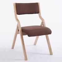 实木折叠椅家用布艺餐椅简约现代靠背椅宿舍椅办公椅麻将椅子 本架 咖啡色麻布