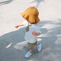 婴儿夏季男宝宝外出套装纯棉上衣条纹短裤0一1岁新生儿两件套
