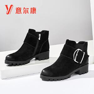 意尔康女鞋新款女靴反绒圆头保暖短靴踝靴