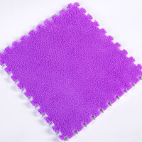 ???加厚儿童毛绒面地毯拼接卧室满铺地板垫子拼图方块泡沫地垫榻榻米 紫色 10片