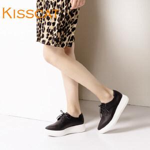 接吻猫新款厚底板鞋潮牛皮尖头松糕底小白鞋运动鞋DA76580-50