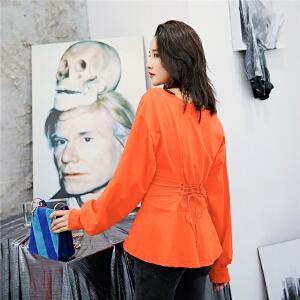 七格格薄卫衣新款女秋季韩版宽松橘红色系带字母收腰长袖上衣