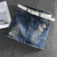 牛仔短裙女夏修身弹力包臀一步裙2018春季新款性感显瘦高腰半身裙 蓝色