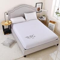 纯色简约床笠单件席梦思床垫保护套床套防滑棕垫1.2/1.5/1.8米 白色 LOVE白色