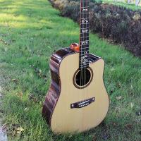 ?初学者入门41寸单板吉他 亮光云杉玫瑰木面单民谣木吉他 图片色