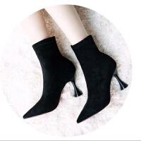 弹力布靴子女秋冬季新款潮马丁靴女细跟高跟鞋女中跟5厘米瘦瘦弹力布靴子短靴 TBP 黑色