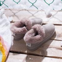 棉鞋冬加绒雪地靴女一脚蹬短筒低帮加厚懒人面包鞋女