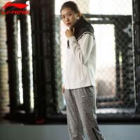 李宁卫衣女款训练系列女子修身拼接时尚运动服上衣外套AWDM358