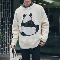 冬季加厚保暖圆领卡通毛衣韩版青少年套头宽松针织衫男潮
