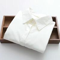 女装秋装修身棉质纯色小尖领排扣OL长袖衬衫女衬衣