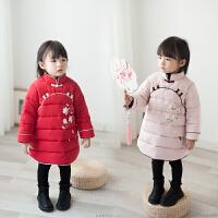 女童旗袍唐装冬儿童新年装汉服中国风宝宝加绒加厚旗袍拜年服