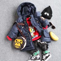 儿童加厚中长款棉衣冬款中小男童宝宝保暖连帽棉袄红蓝黄色