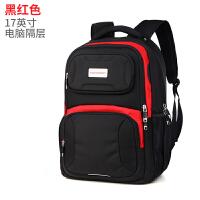 双肩包男初中高中学生书包旅行包学生包女双肩电脑包男士背包 黑红色