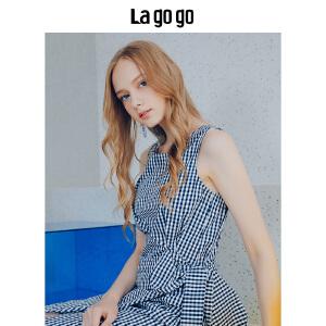 【清仓3折价137.7】Lagogo/拉谷谷2019年夏新款时尚格子气质女无袖连衣裙HALL244M42