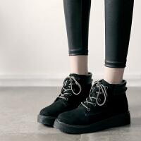 复古马丁靴女英伦风加绒棉鞋冬季韩版平底短靴女2018新款学生靴子SN2919 黑色 单里偏大半个码