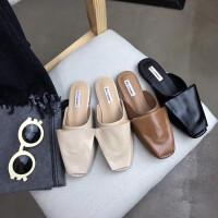 18春夏新款韩版蝴蝶结方头低跟平底包头拖鞋女室外半拖舒适穆勒鞋
