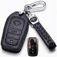2019款丰田普拉多钥匙套普拉多3.5L专用汽车真皮钥匙包扣 丰田A款一键启动三键 黑色