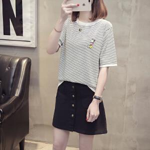 条纹卡通印花中袖冰丝针织T恤衫2018夏季韩版圆领拼色学生女上衣