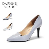 Daphne/达芙妮圆漾系列 秋款时尚金属拼接尖头浅口高跟女单鞋
