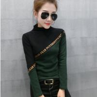 欧洲站秋冬新款半高领加绒打底衫女长袖T恤修身显瘦加厚保暖上衣 绿色 加绒款
