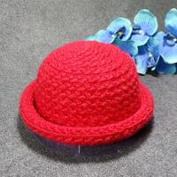 秋冬季儿童圆顶针织帽 马海毛卷边盆帽 韩国女童毛线帽 帽子批发