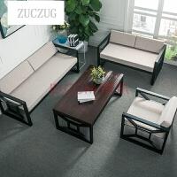 ZUCZUG新款铁艺沙发组合 北欧简约lofT美式工业风复古做旧卡座 创意欧式布艺沙发