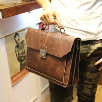 378男包手提包单肩包男士休闲包韩版斜挎包潮流包包复古箱型皮 咖啡色
