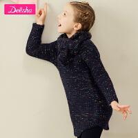 【3件3折到手价:80】笛莎女童针织毛衣2018冬季新品女童套头保暖舒适高领针织衫毛衣