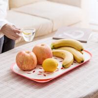 塑料双层沥水盘客厅水果盘 创意家用茶几杯子水杯托盘多功能茶盘