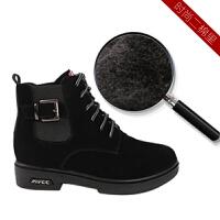女靴新款2018内增高短靴冬季加绒韩版马丁靴中跟雪地靴