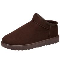 冬季保暖加绒雪地靴男情侣鞋男士低帮保暖鞋套筒面包男鞋子短靴