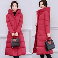 冬装棉衣外套韩版时尚修身中长款过膝加厚羽绒女 M 85-105斤
