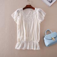 甜美日系杂志款 精品水溶蕾丝手工钉珠 夏显瘦荷叶边短袖T恤-A357